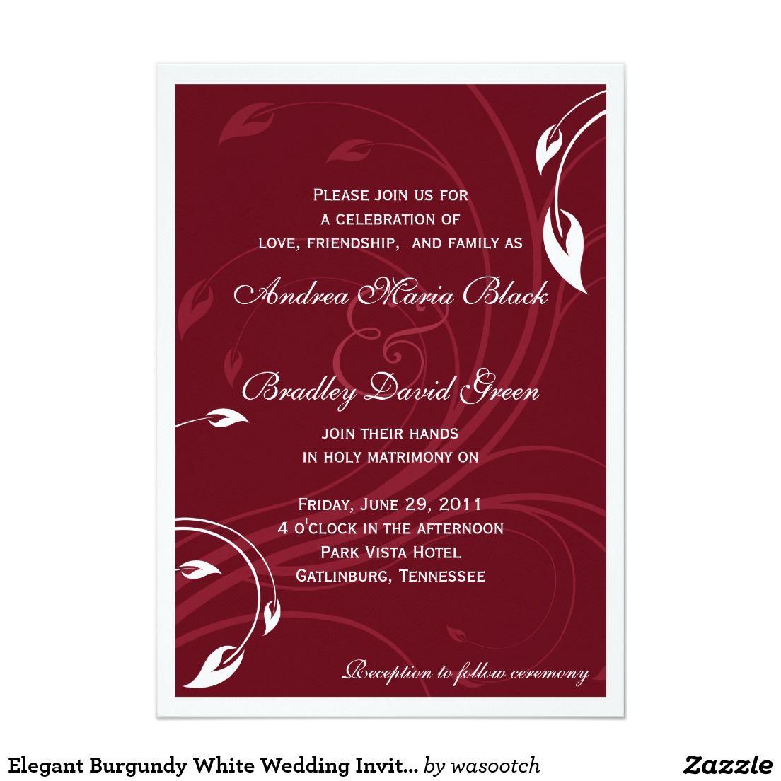 Elegant Burgundy White Wedding Invitation | Wedding, 7 and Invitations