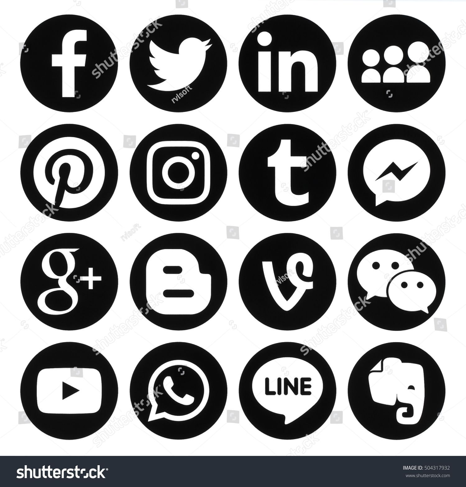 Kiev Ukraine October 25 2016 Collection Of Popular Black Round Social Media Icons Printed On Paper Faceb Social Media Icons Business Card Icons Web Icons