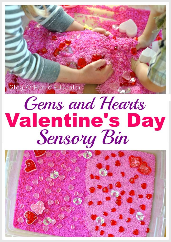 Gems And Hearts Valentine S Day Sensory Bin Sensory Play For Preschooler Is Important So Make A Valentine Sensory Preschool Valentines Valentine Activities