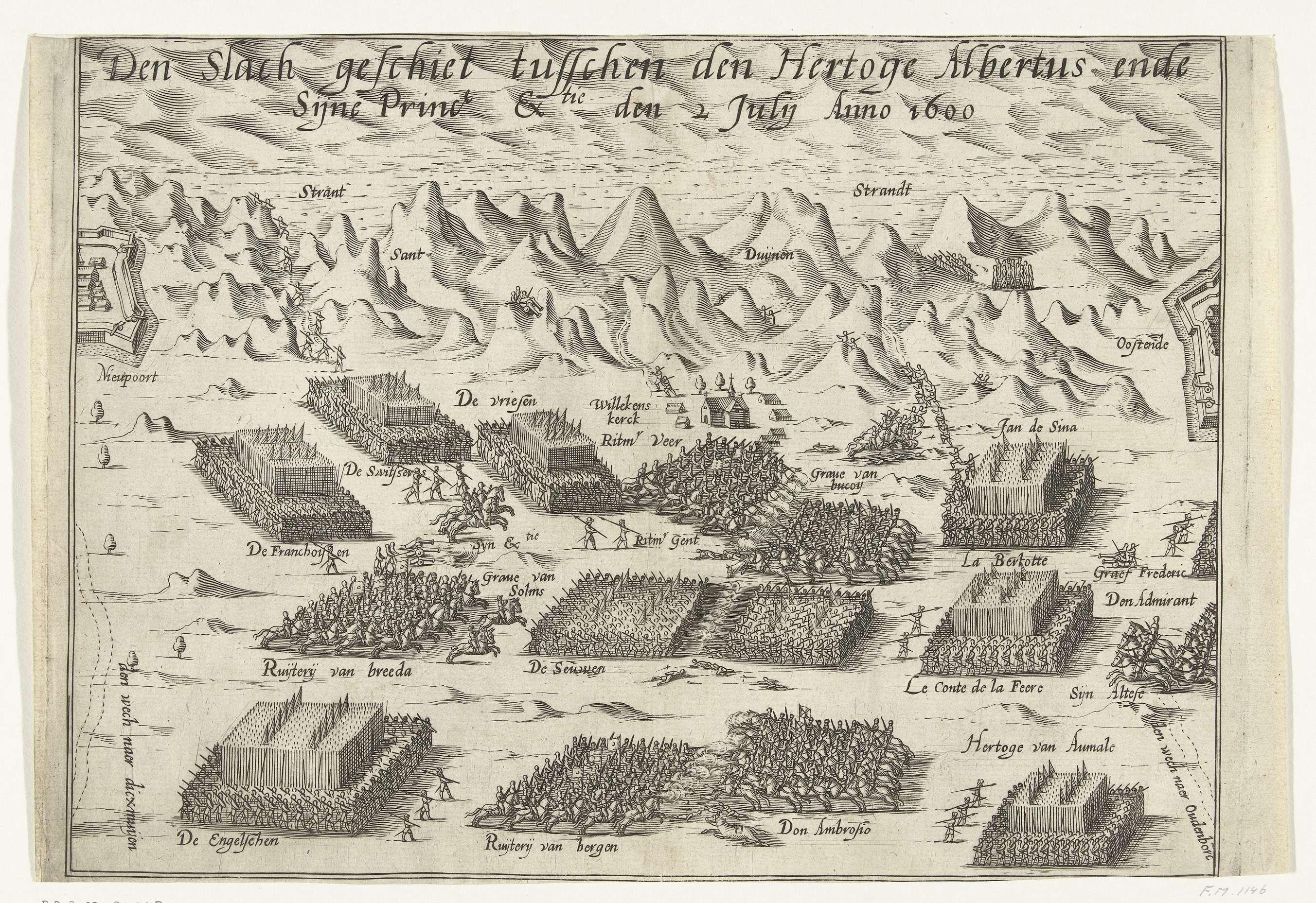 Anonymous | De slag bij Nieuwpoort, 1600, Anonymous, 1600 - 1605 | De slag bij Nieuwpoort, 2 juli 1600. Gevechten op het strand en in de duinen tussen het Staatse leger onder Maurits en de Spaanse troepen onder Albrecht.