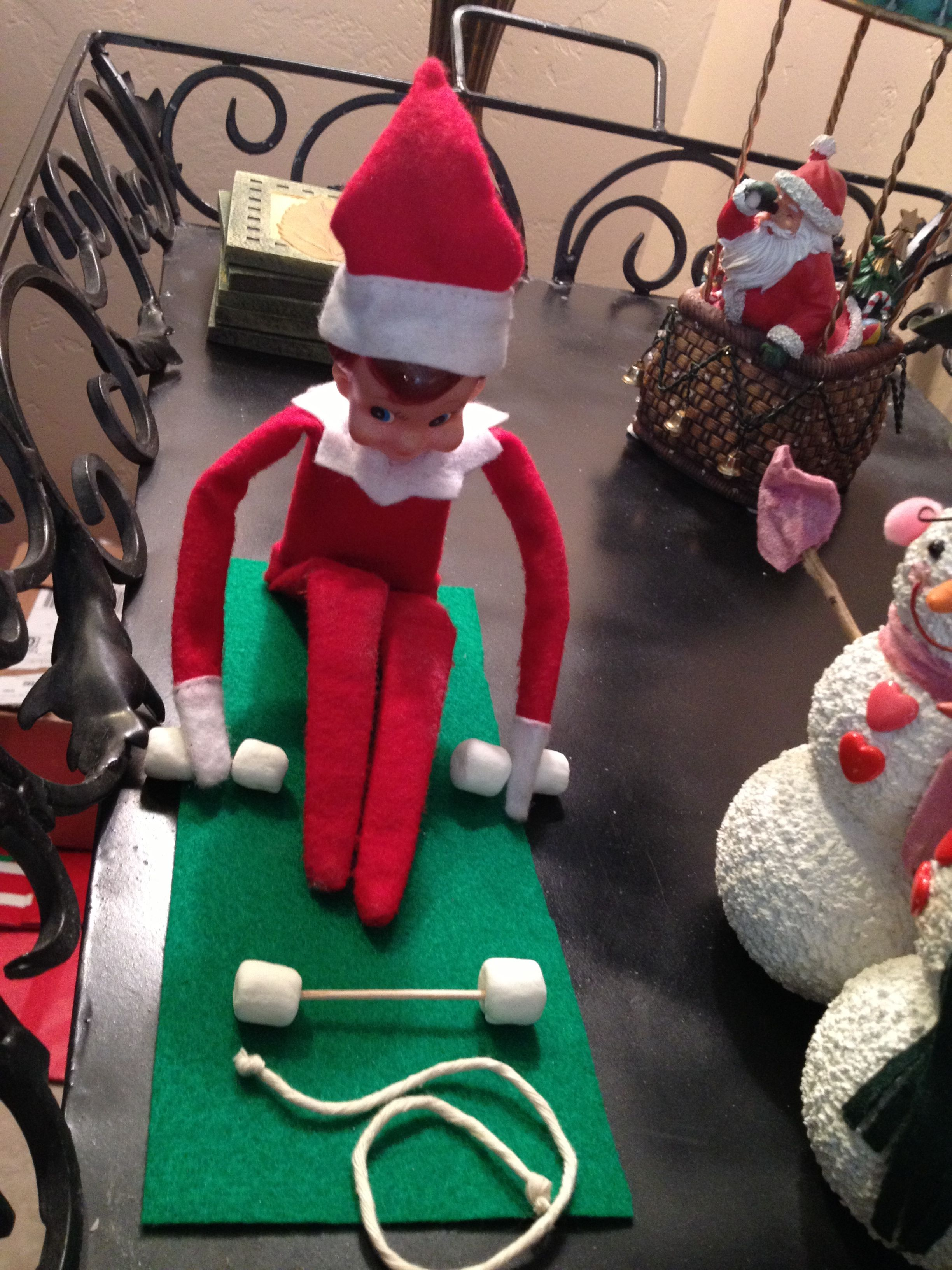 Elf On A Shelf Is Working Out This Morning Elf Fun Christmas