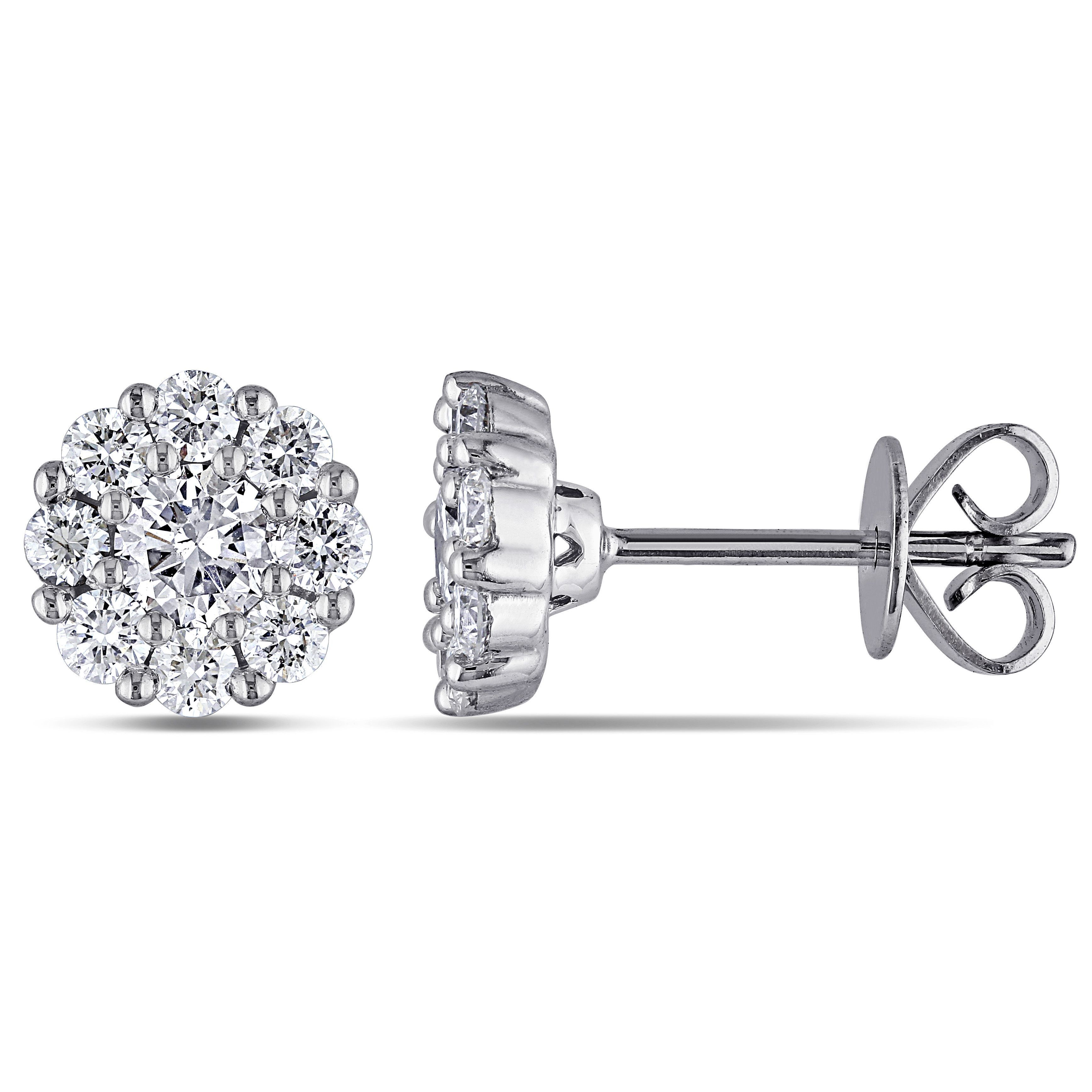 Miadora Signature Collection 14k Gold 1ct TDW Diamond Cluster Halo Stud Earrings