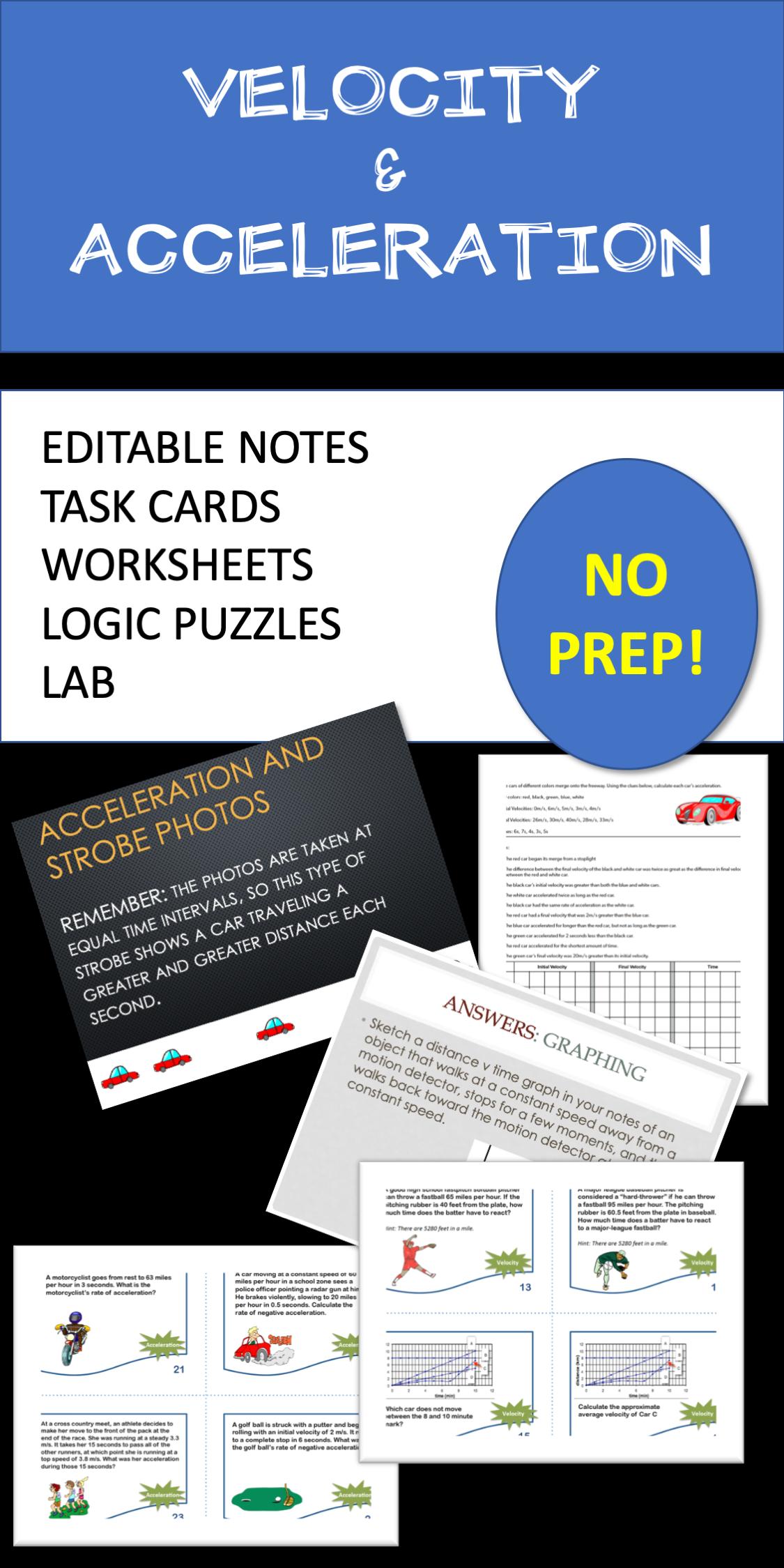 hight resolution of Velocity \u0026 Acceleration: Editable Notes