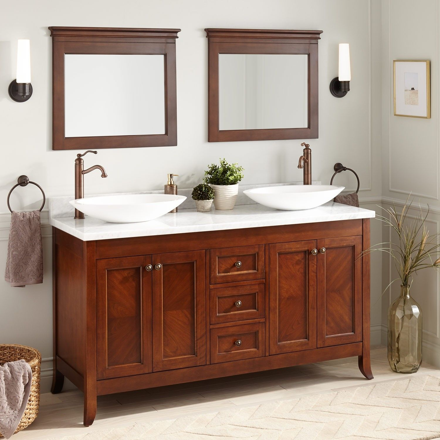 60 Mayfield Double Vessel Sink Vanity Medium Cherry Bathroom