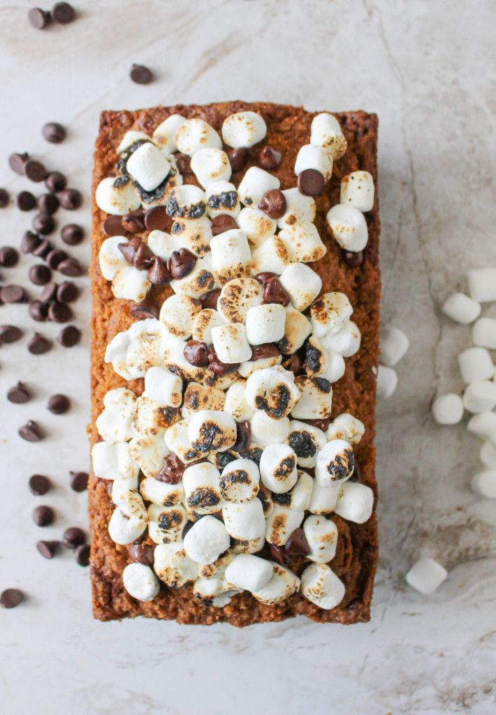 S'MORES QUICK BREAD WITH GRAHAM CRACKER STREUSEL & TOASTED MARSHMALLOWS