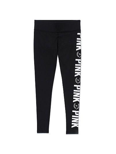 #PINK Printed Ultimate Yoga Legging in Black Side Pink $54.95   #VSPINK #PINKNation #VictoriasSecret