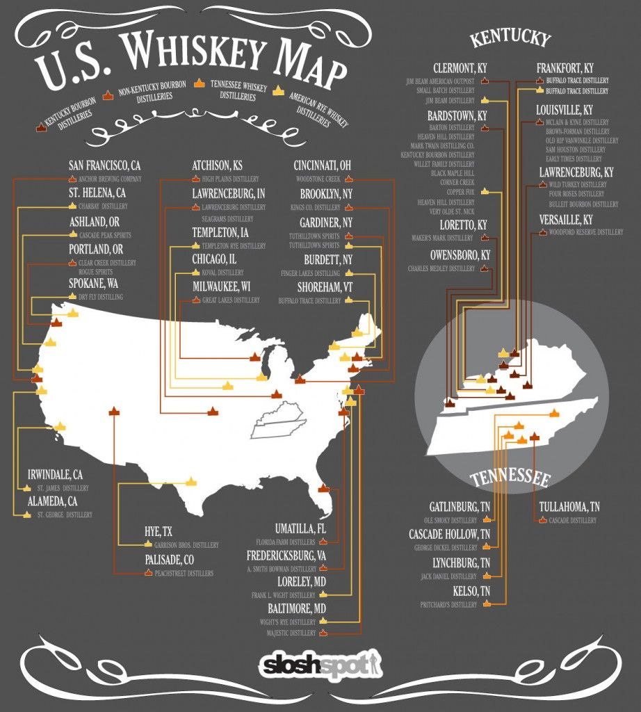 U S Whiskey Map Infographic With Images Whiskey Tasting Whiskey Good Whiskey