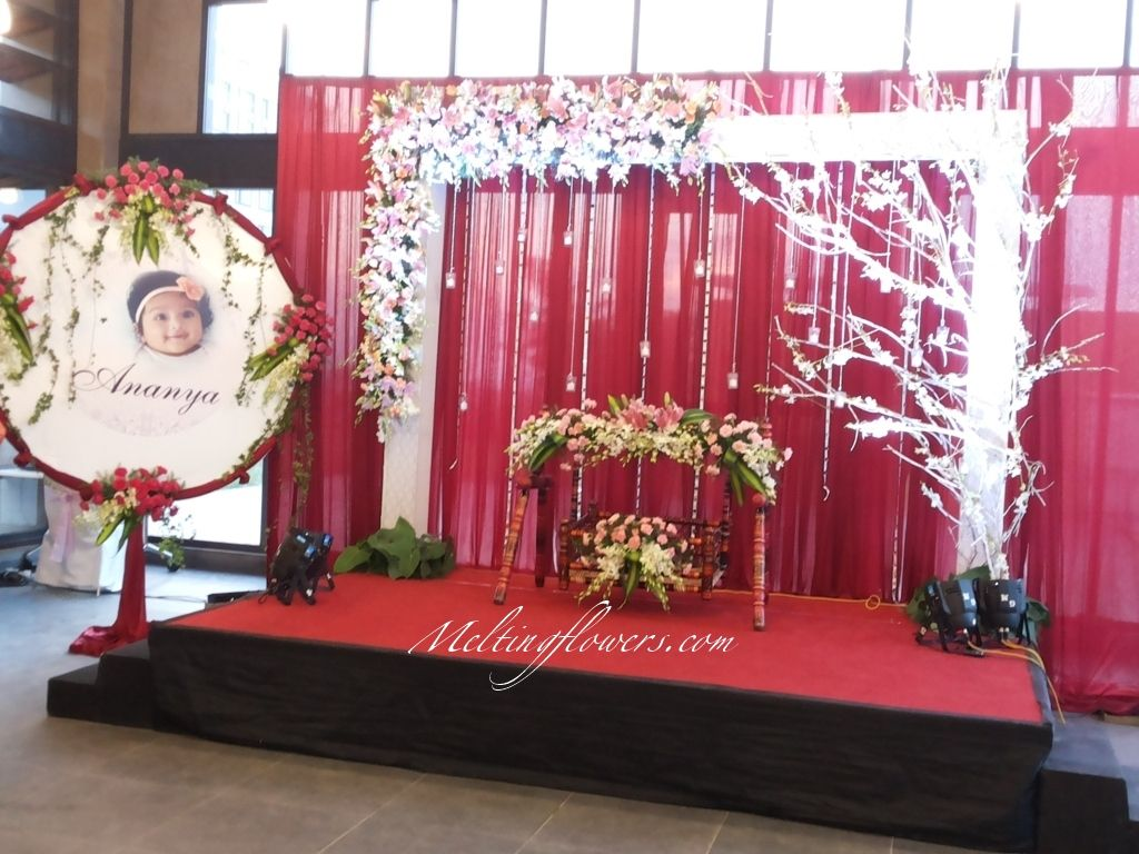 Naming Ceremony Decoration Ideas From The Best Flower Decorators In Bangalore Namingceremony Naming Ceremony Decoration Backdrop Decorations Naming Ceremony