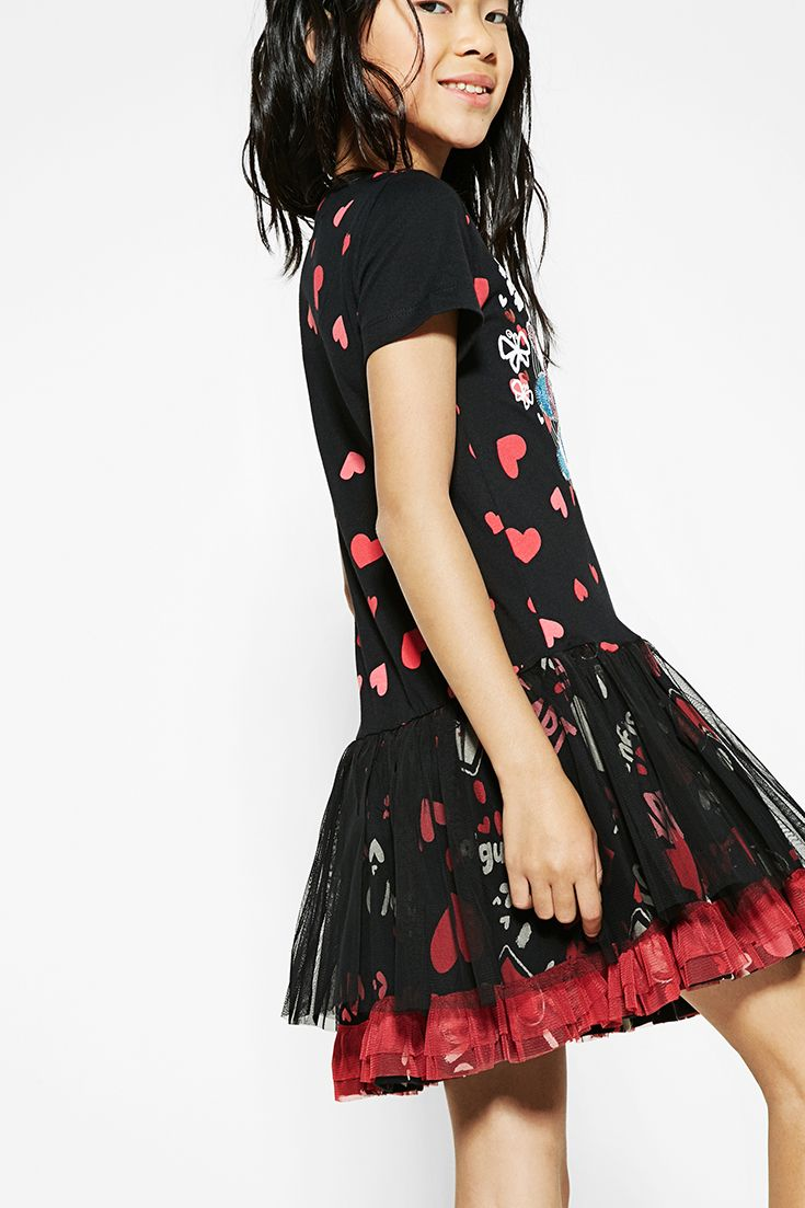 ca596195cfc Desigual short-sleeved black dress for girls with a heart print and  reversible sequins. Discover Desigual Kids collection!