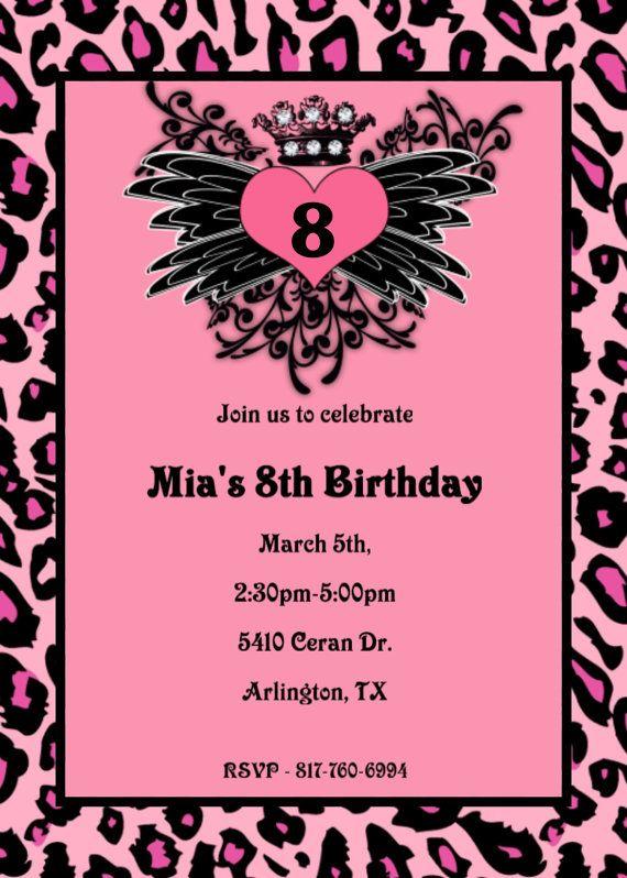 Tattoo Heart Wings Cheetah Birthday Invitation Tattoo Heart Birthday