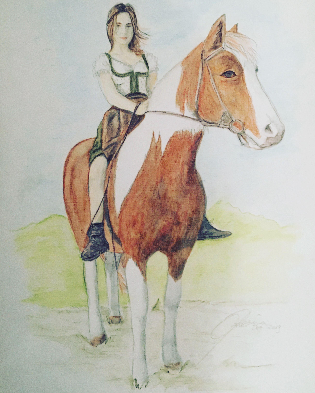 mädchen auf pferd in 2020  aquarell malerei pferd