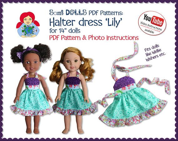 Halter Dress 'Lily' for 14 dolls like Wellie