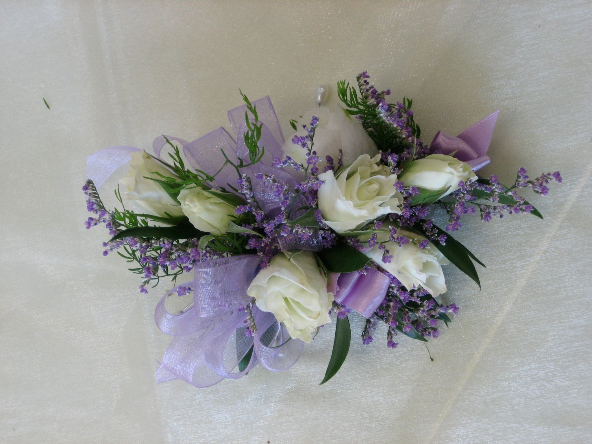 Wrist Corsage White And Lavender Ribbons Roses Custom Florals