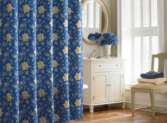 Delightful Laura Ashley EMILIE Blue Yellow Floral SHOWER CURTAIN