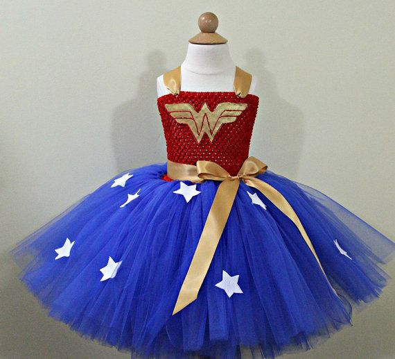 Superhero Girl Wonder Woman Tutu Kid/'s Party Batman Superman Fancy Dress Costume