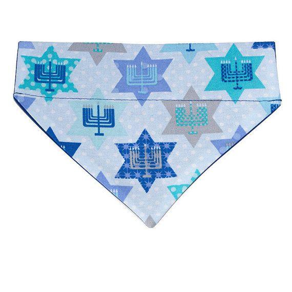 Hanukkah Dog Bandana Scarf - Size Small - Stars, Menorahs, and Polka Dots