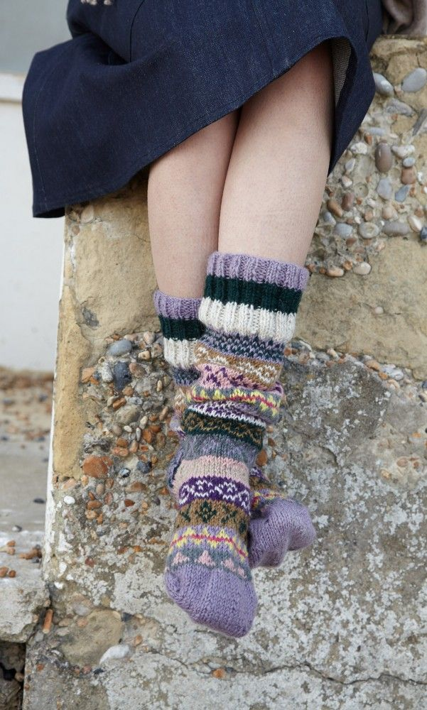 Richly patterned chunky knit woollen house socks. Plumo.com ...