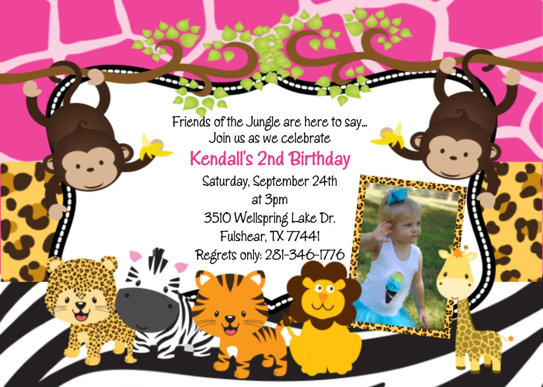 Monkey Birthday Invitation Monkey Birthday Party Invite Jungle ...