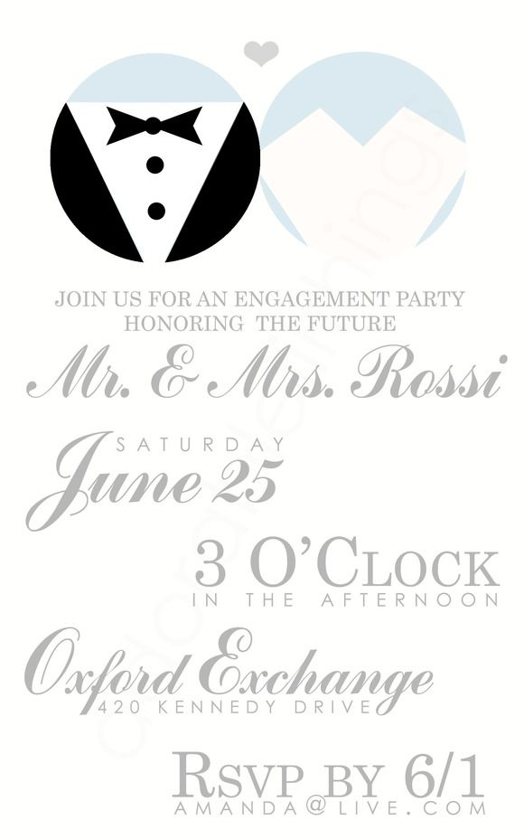 Bride, Groom Engagement Party Invite ~ Invitation Templates on ...