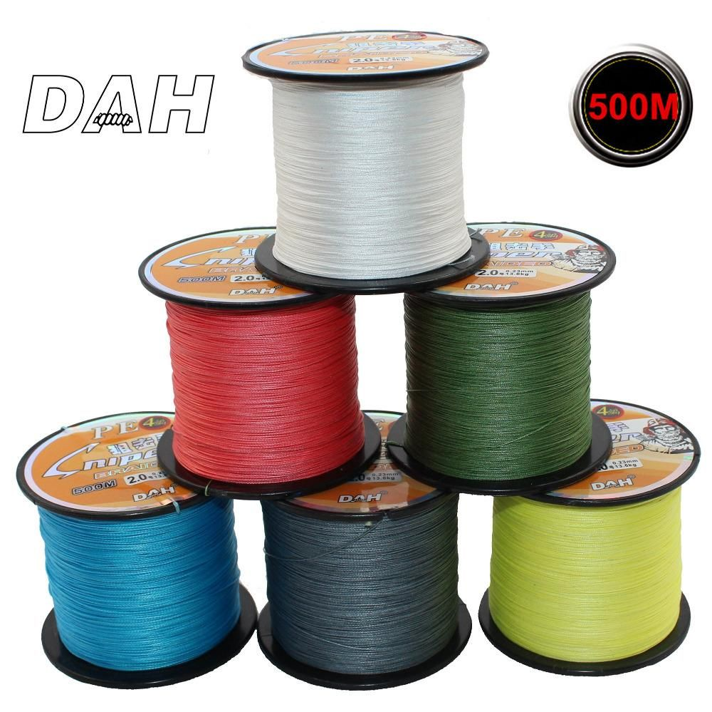 DAH Brand 500M 4 Strand Weaves Fishing Lines PE Braided Super Strong ...