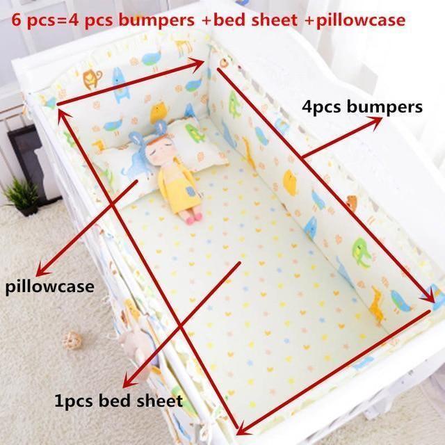 cd10e06cfe16 6Pcs Set Blue Universe Design Crib Bedding Set Cotton Toddler Baby ...
