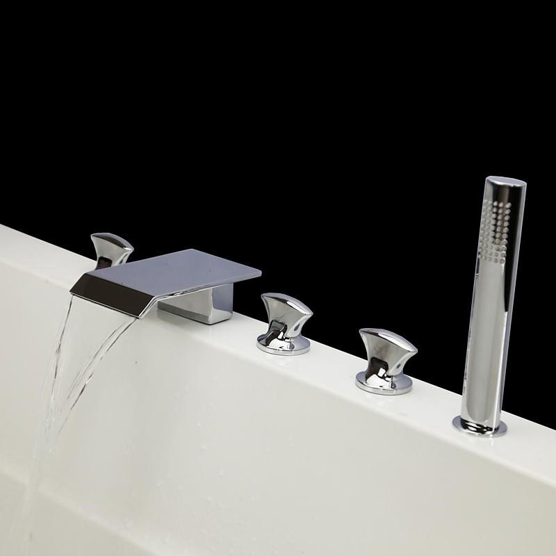 116.87$  Buy here - http://alikmm.worldwells.pw/go.php?t=32656851853 - Bathtub Shower Faucets Chrome Polish Bathroom Suana 5pc Sets Showerhead,Diverter,Two Handles,Shower Hose,Waterfall Spout YGWJ071