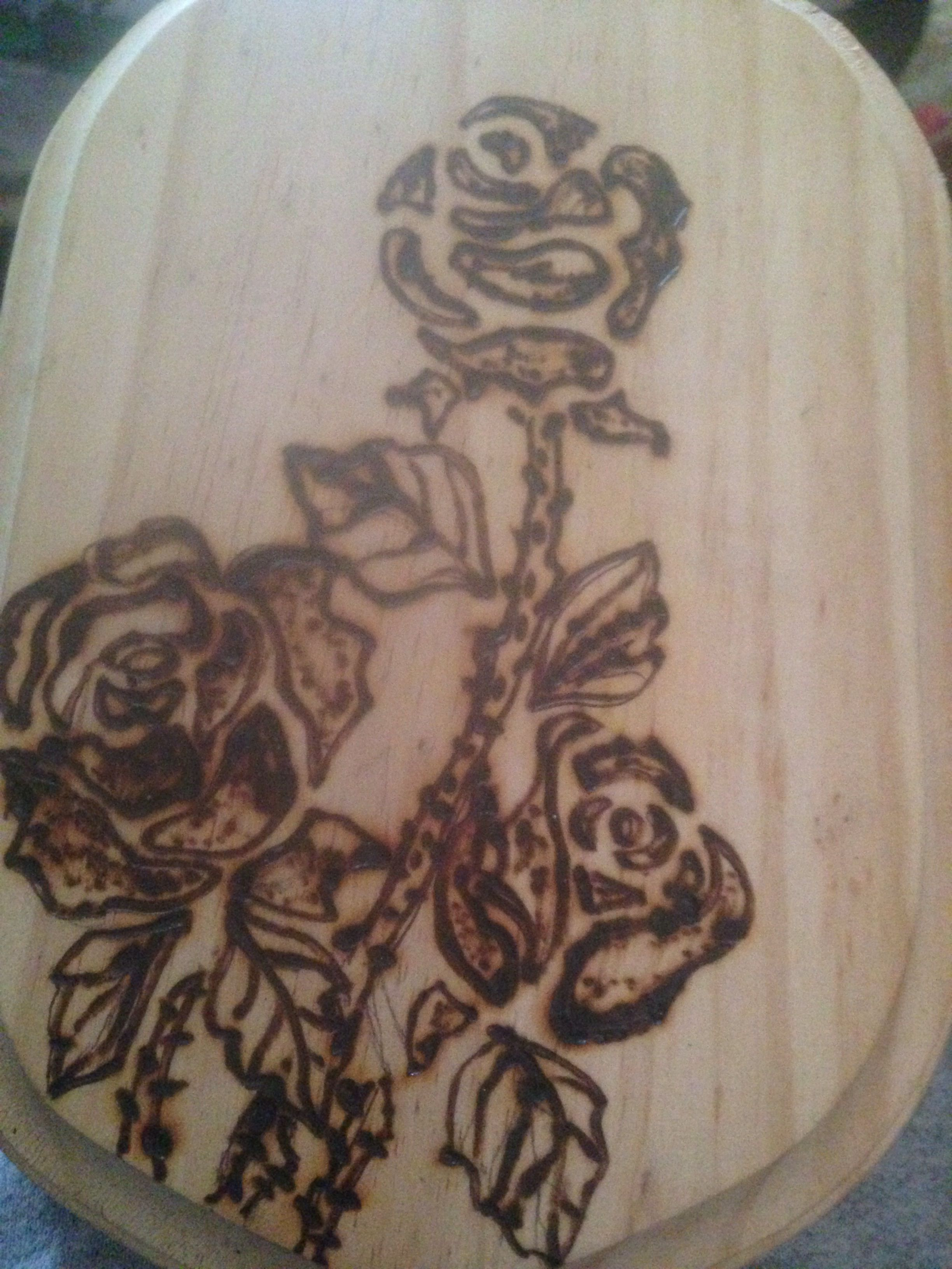 First Burn attempt in over 20 years. Not finished, yet... Lots of shading left in roses...