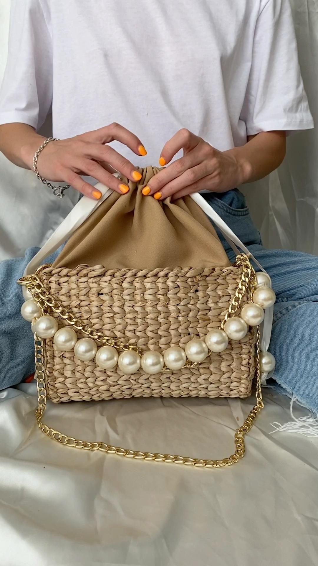 90e Baguette Bag Summer Straw Handbag Pearl Beads Handle Bag | Etsy