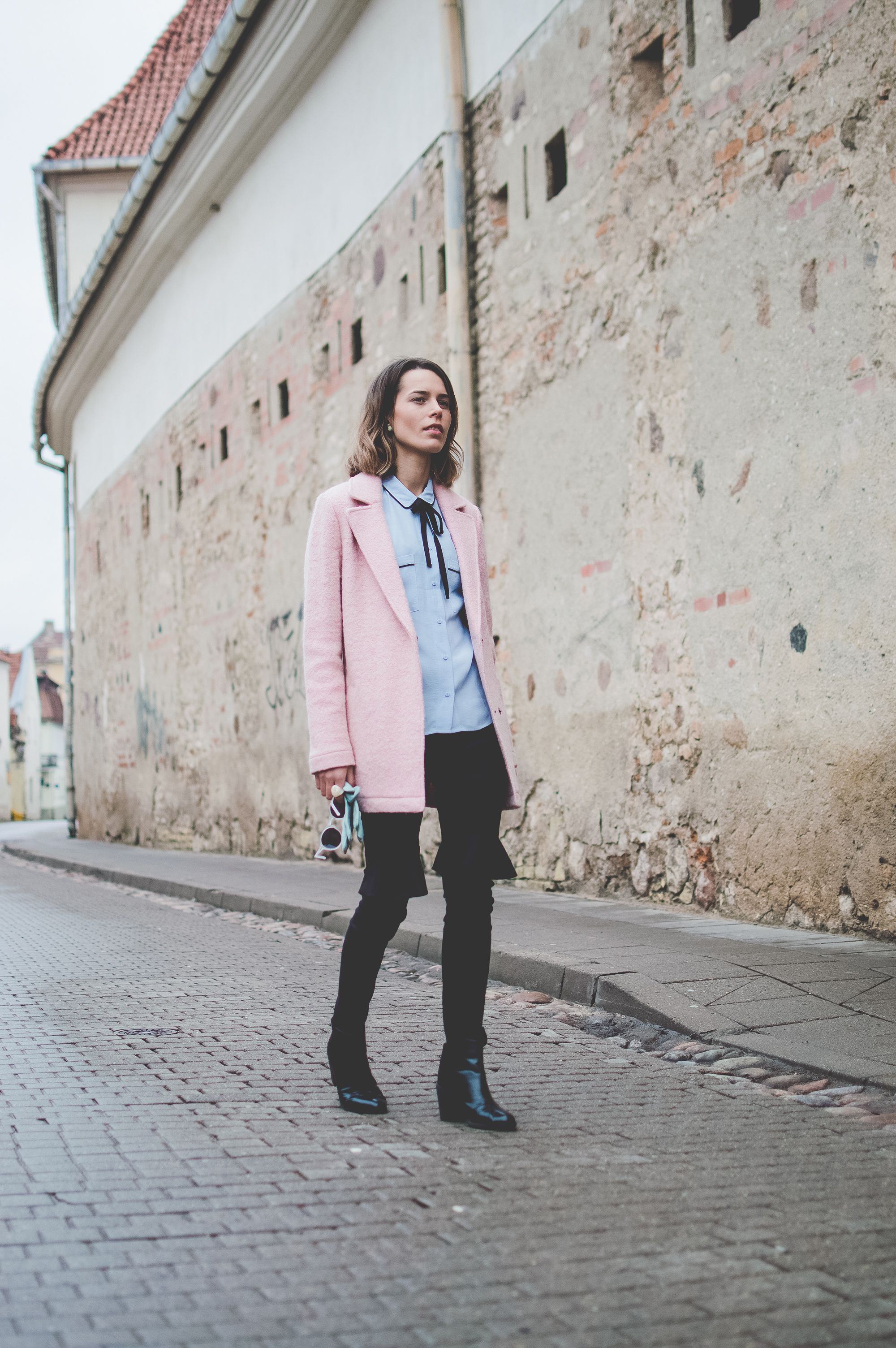 Pink Coat OOTD on www.donttellanyone.net/blog! Marks&Spencer, blue, candy pop, pastel colors, pastel outfit, style, fashion.