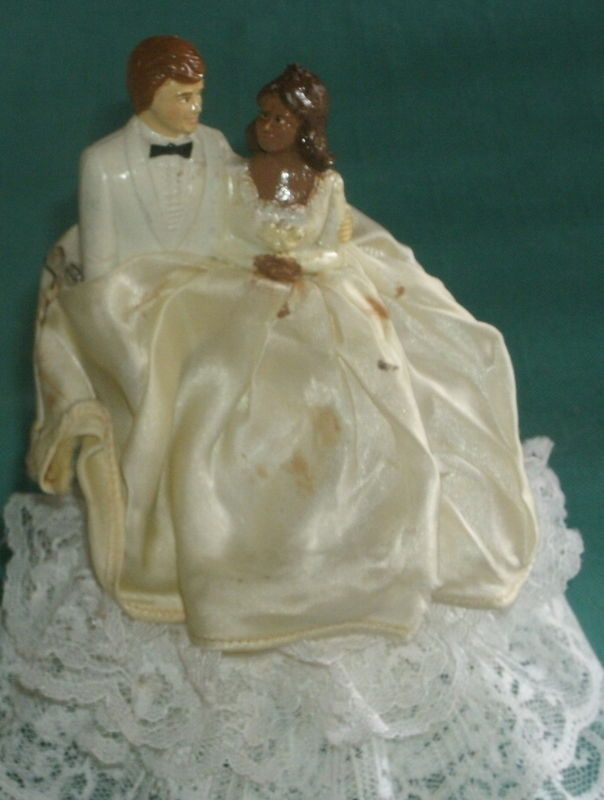 Vintage Mix Racial Bride And Groom Cake Topper Needs Cleaning