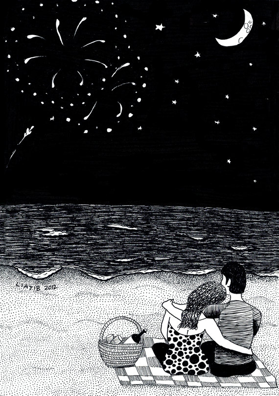 Fireworks at the beach black and white ink illustration by liatib, $16.00