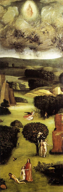 """La caída de los ángeles, la creación de Eva, el pecado original y la expulsión del paraíso. Postigo izquierdo del Tríptico """"El Juicio Final""""; óleo sobre tabla 167,7xx60cm. Academia de Bellas Artes de Viena."""