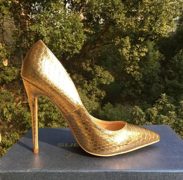 Craylorvans 2018 Spring Women Shoes NEW Fashion Snake Leather Wedding Shoes Sexy Pointed Toe Pumps Gold High Heels Party Shoes