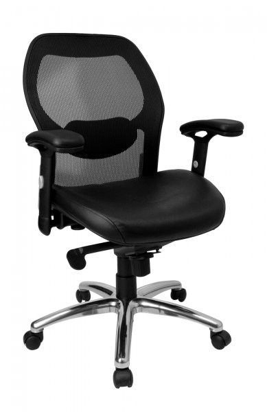 Perfect Mid Back Super Mesh Office Chair With Leather Seat And Knee Tilt Control ( Black