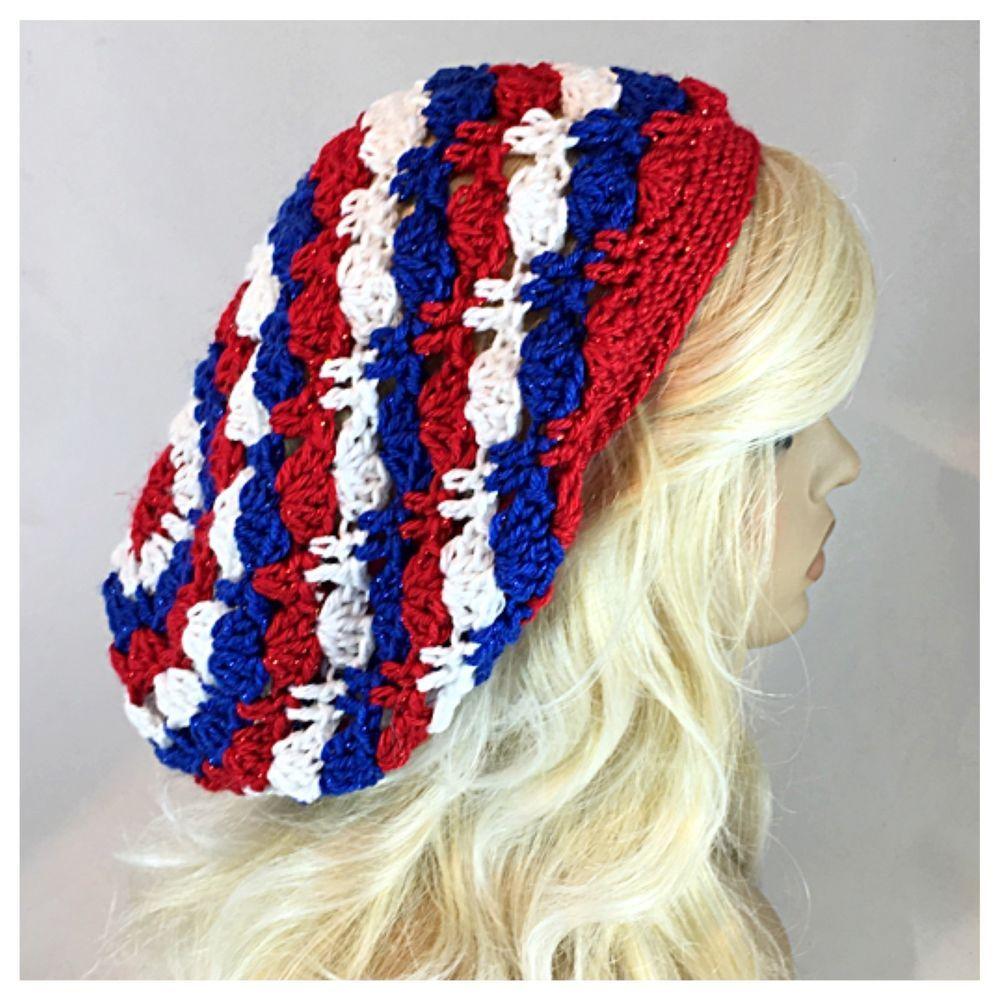 Handmade Crochet Womens Slouchy Baggie Beanie Hat Red White Blue Crocheted Headband Pattern Diagram Hats Caps Etc Pin Stripe Sparkle Ebay