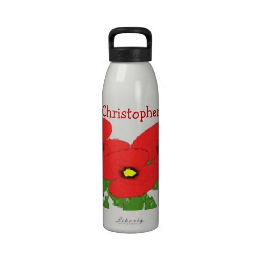 Poppies Just Add Name Water Bottle