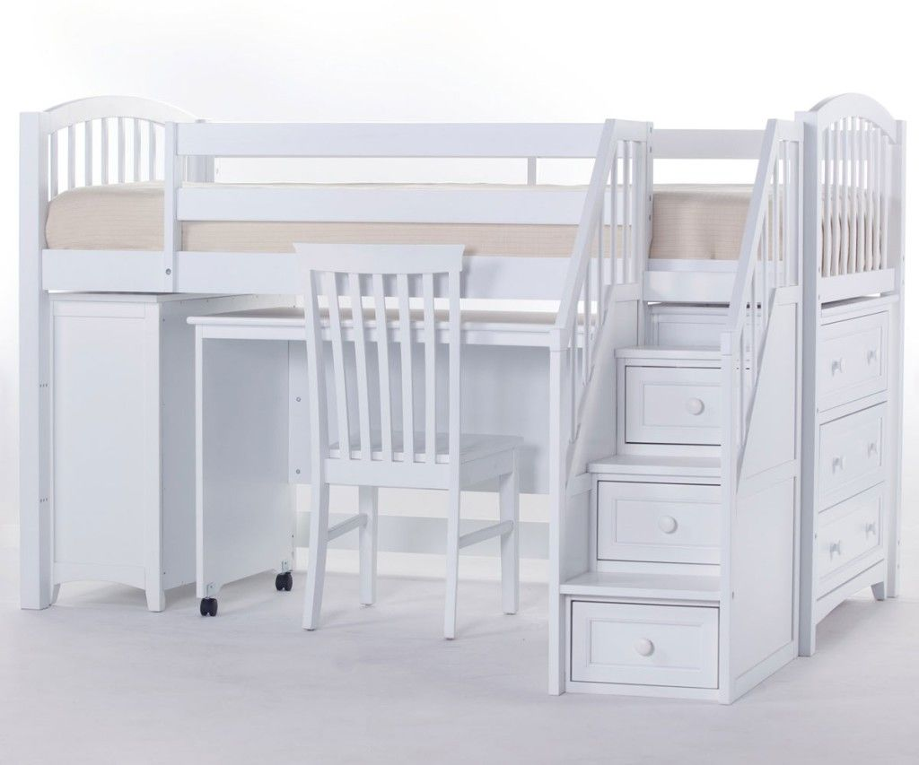 School house junior store and study low loft bed with for Low loft bed