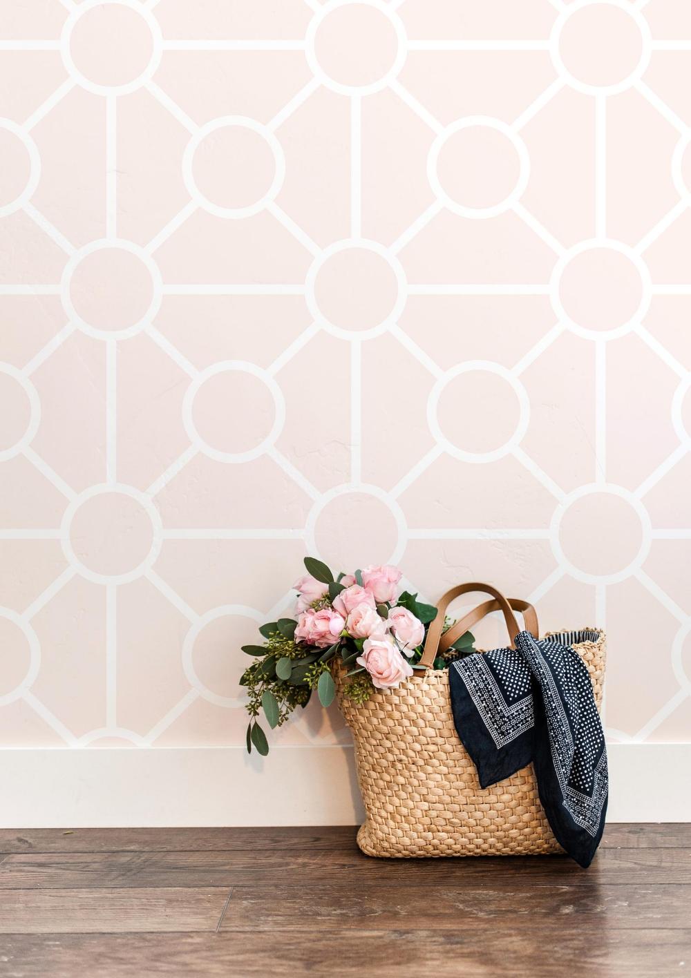 Pink Geometric Peel And Stick Wallpaper Blush Accent Wall Etsy Wallpaper Accent Wall Pink Accent Walls Peel And Stick Wallpaper