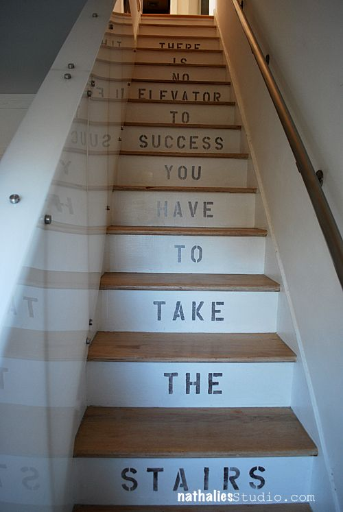Stenciled Stair Case Home Decor From NathaliesStudio.com