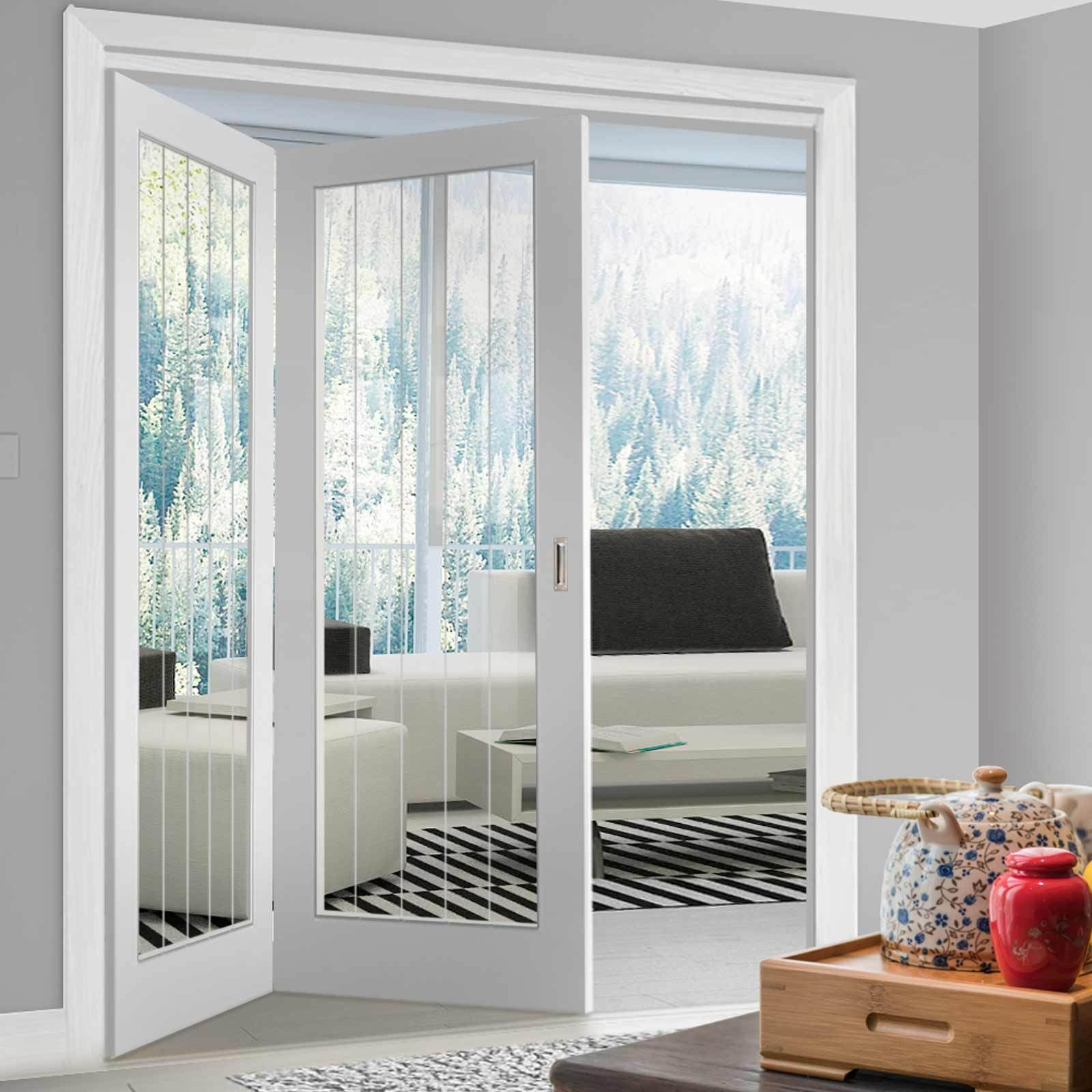Thrufold Textured Vertical 5 Panel 2+0 Folding Door