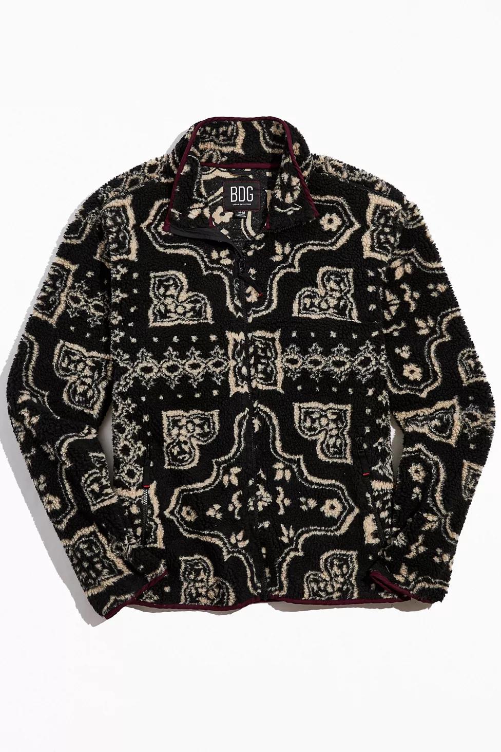 Bdg Damask Sherpa Fleece Jacket Urban Outfitters Fleece Jacket Patchwork Jacket Sherpa Jacket [ 1463 x 976 Pixel ]