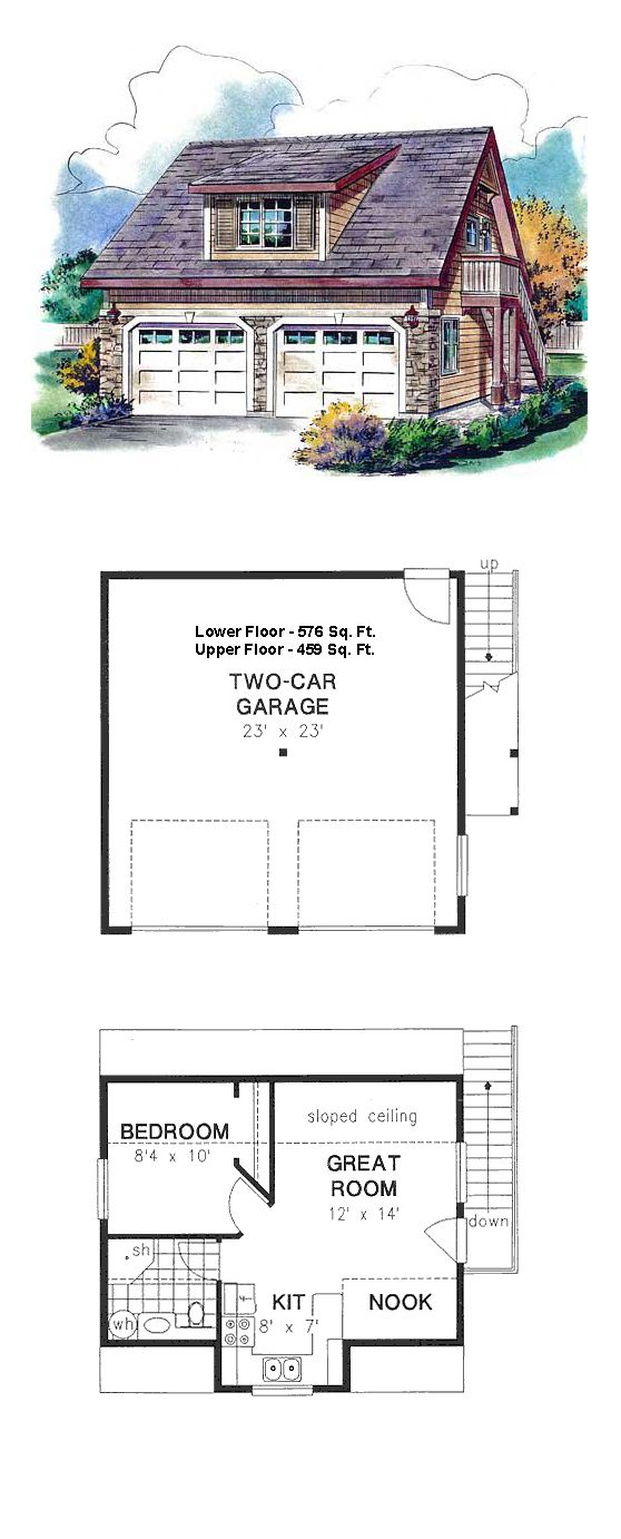 Garage apartment plan 58563 total living area 459 sq for Garage with living area