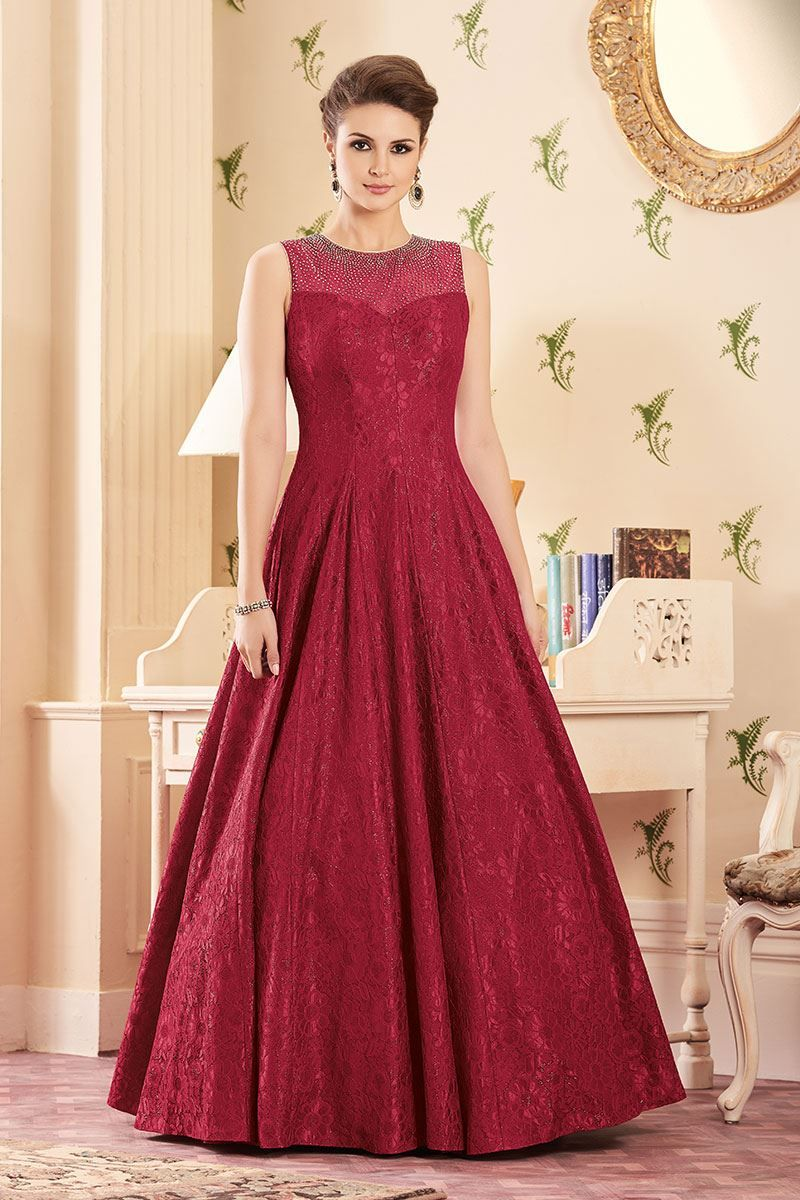 Picture of Ethreal deep red designer bridal gown | Great Bridal Wear ...