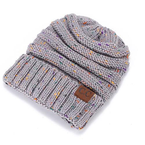 7df0e2094d4 BONJEAN women warm hat CC Trendy Warm winter knitted Chunky Soft Slouchy  Beanie High bun Ponytail Stretchy hat gorro feminino