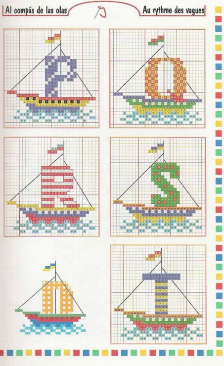 cross stitch alphabet nautical sailboats letters for sails INCOMPLETE : MISSING t,u,v,w 4 of 6