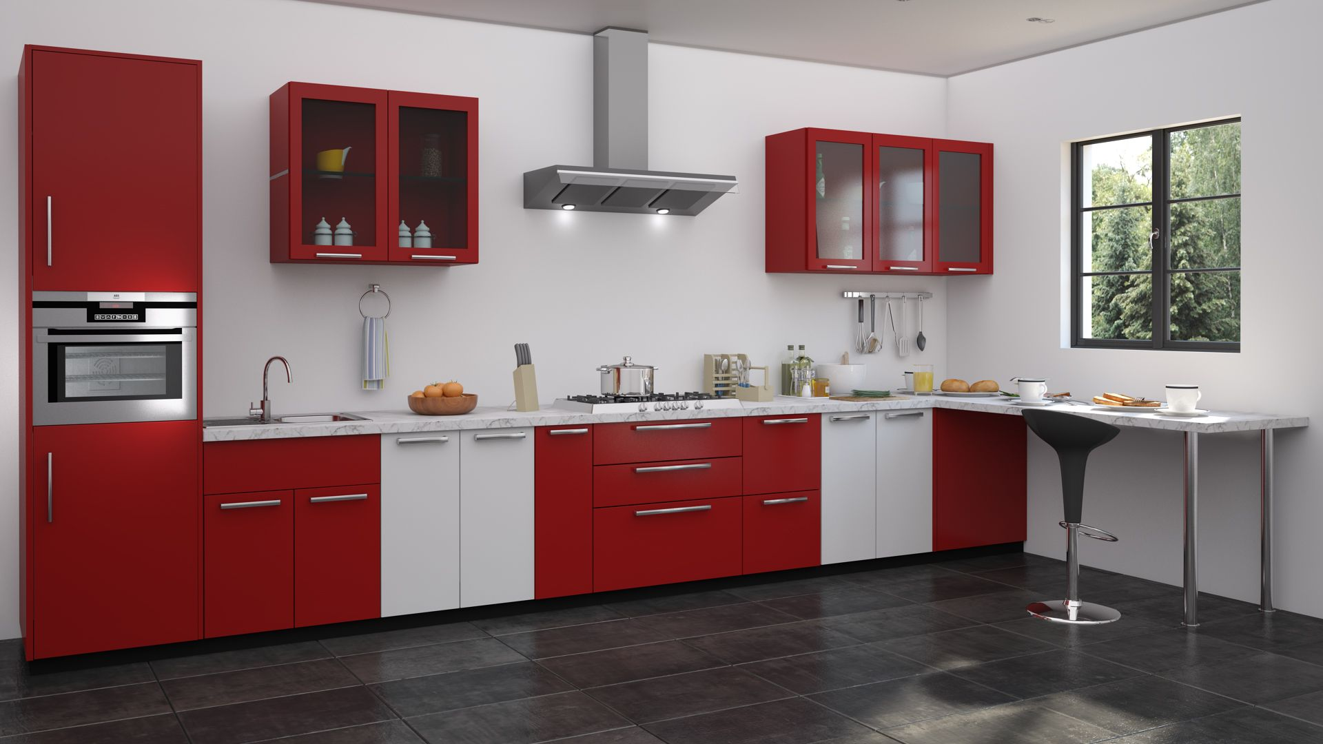 Superbe Red And White Kitchen Designs