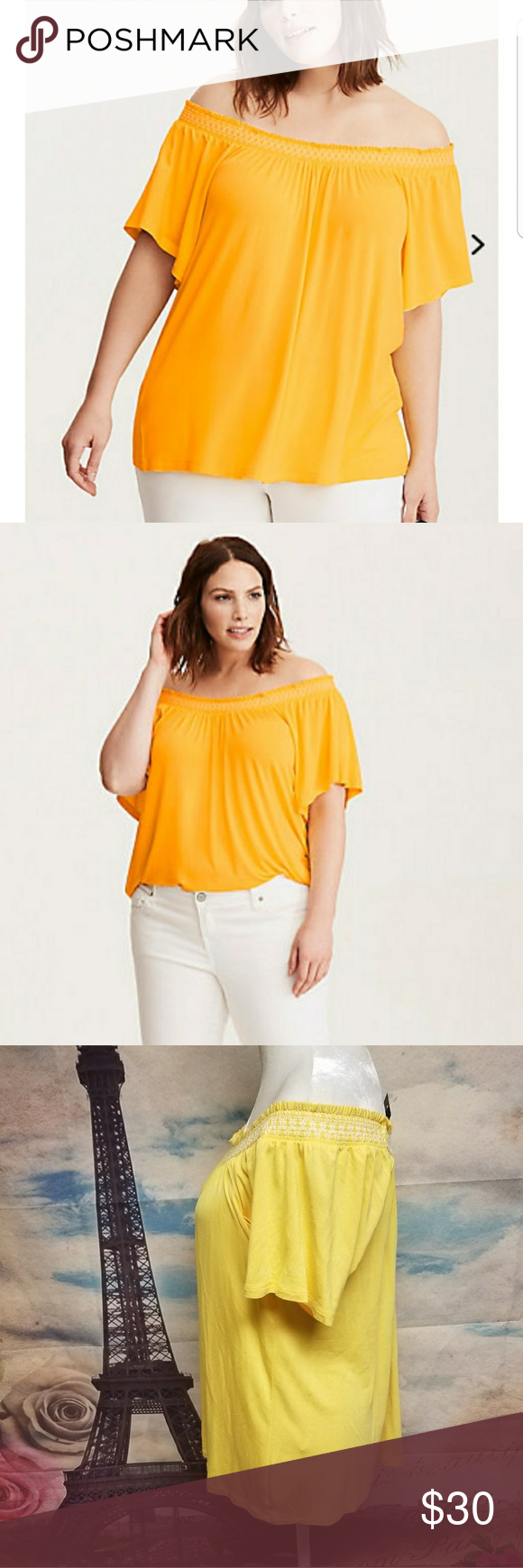 fade65a7f27f7e Torrid Embroidered smocked off shoulder top The smocked off shoulder  sleeves give your shoulders some airtime