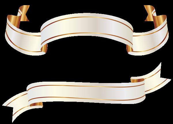 Белый и золотой Баннеры PNG изображения Clipart   Баннер ...