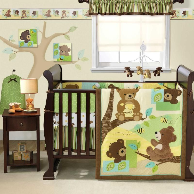 Green And Brown Neutral Bear Nursery Animal 3pc Baby Crib Bedding Set Boy Bedtimeoriginals