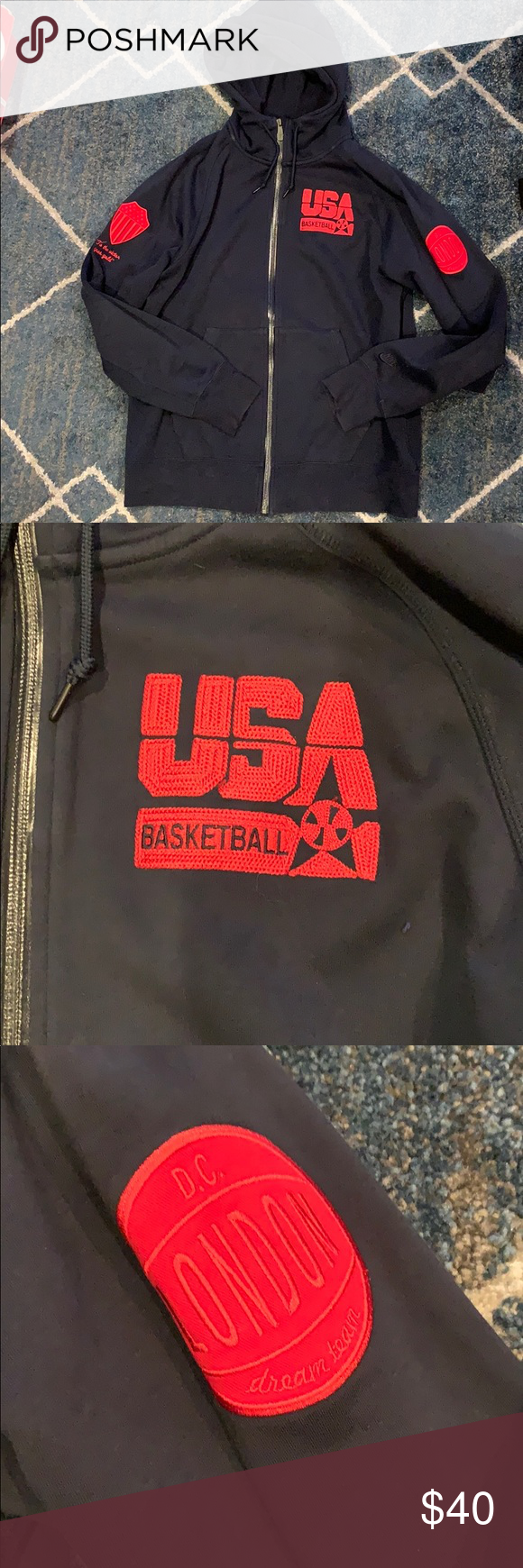 Nike USA Olympics basketball zip up hoody XL Solid zip up